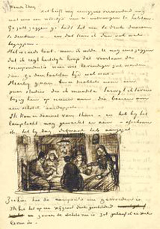 vincent van gogh letter, sketches,