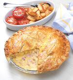 egg and bacon pie, student recipe