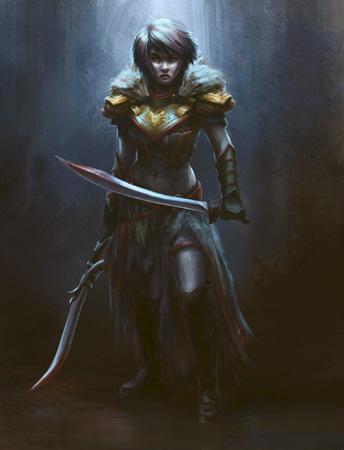 warrior heroine, leslie j lee, fantasy art,
