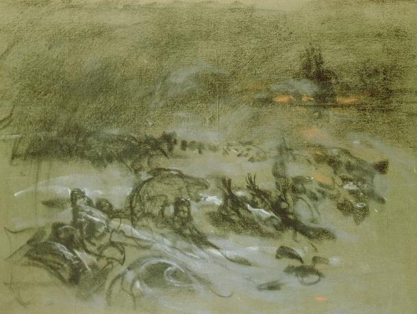 Mucha, military camp in winter