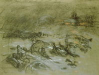 Mucha, military camp in winter