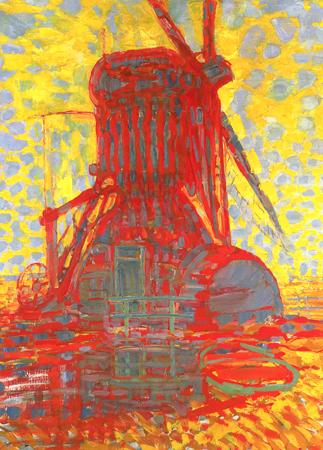 mondrian, mondrian landscape painting, masterpieces of art,