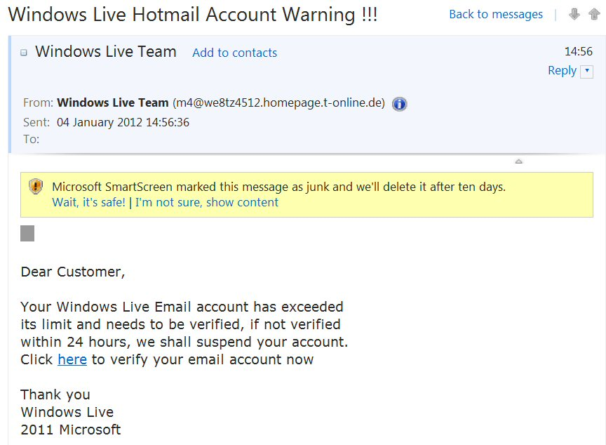 Make money on the internet, email scam