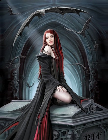 Gothic Fantasy Art - Await the Night by Anne Stokes