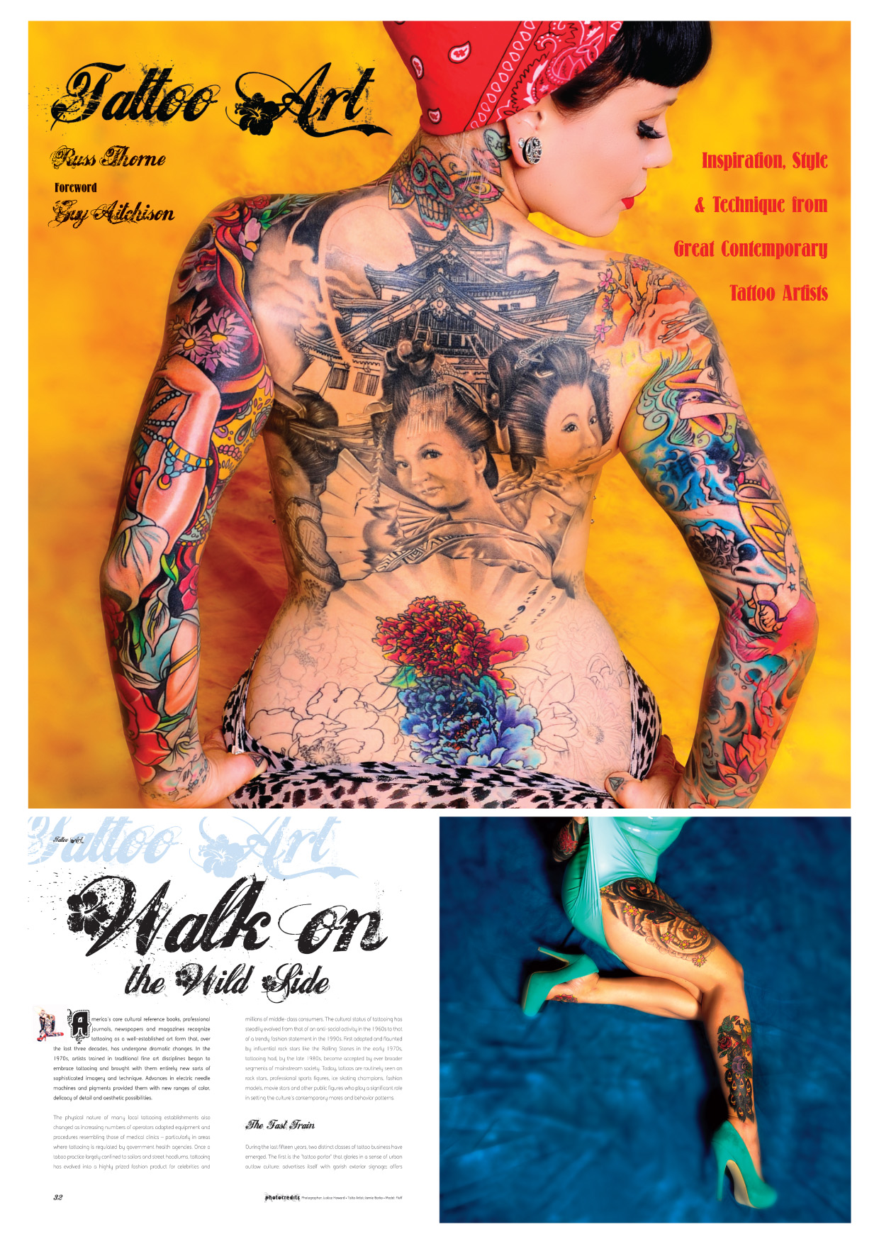 Illustrated ebook, tattoo art cover