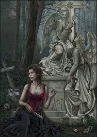 cris ortega, steampunk art, graveyard lady
