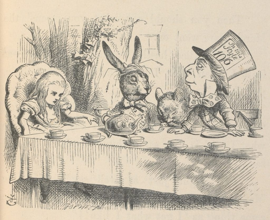 Alice-at-the-Mad-Hatters-Tea-Party-Illustration-for-Alices-Adventures-in-Wonderland-by-John-Tenniel-1865-c-Victoria-and-Albert-Museum-London-1024x835
